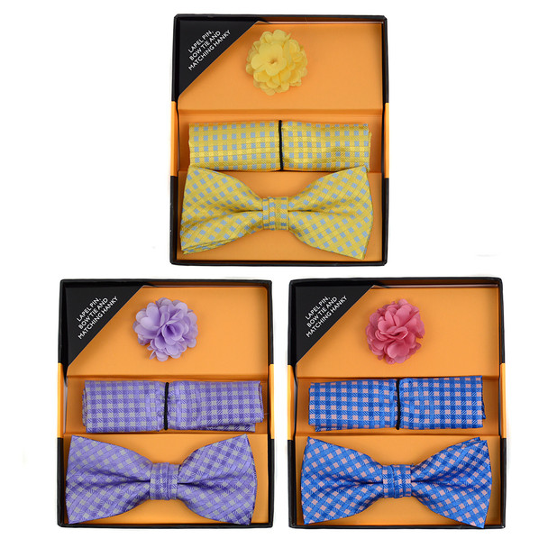 12pc Assorted Pack Men's Boxed Fancy Micro Bow Tie and Hanky with Lapel Pin Set BTHL5000