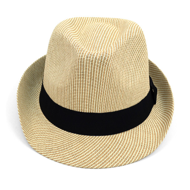 Spring/Summer Woven Fashion Fedora with Black Band FSS17108