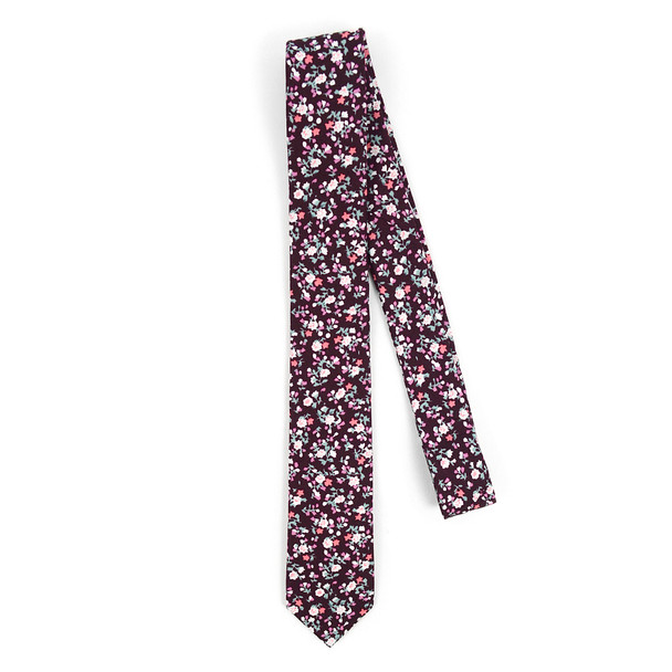 "Floral Burgundy 2.5"" Cotton Slim Tie - NVC17120"