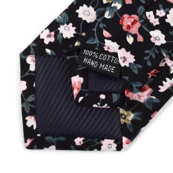 """Floral Black & Pink 2.5"""" Cotton Slim Tie - NVC17121"""