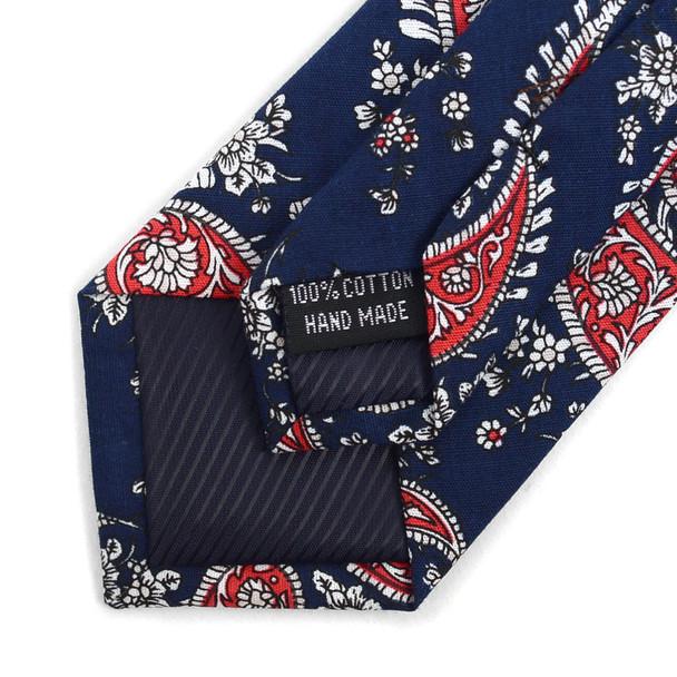 "Paisley Navy & Red 2.5"" Cotton Slim Tie - NVC17116"