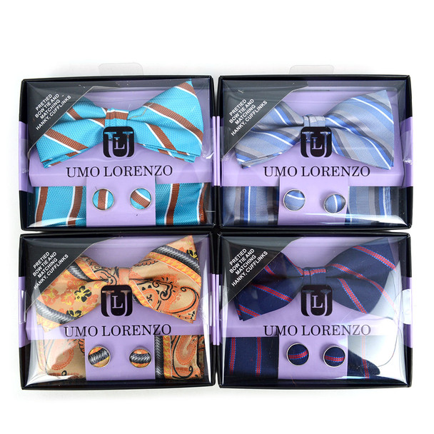 12pc Pack Assorted Men's Striped Bow Tie, Matching Hanky & Cufflinks BTHC1000STP
