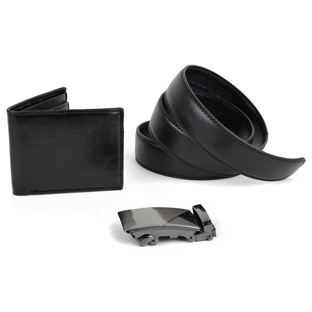 12pc Men's Black Bi-Fold Wallet & Auto Slide Belt Set ASBWB17110