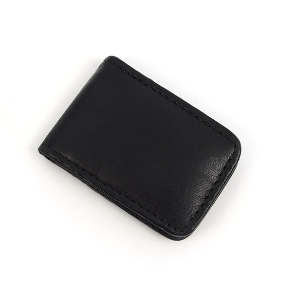 Black Leather Money Clip MC2096-BK