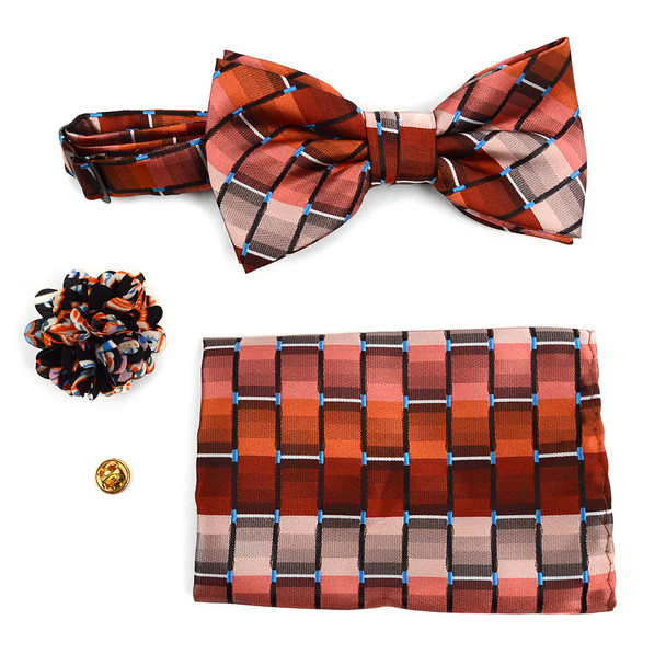 Geometric Banded Bow Tie, Matching Hanky & Multi Colored Lapel Pin Set BTHLB07059M