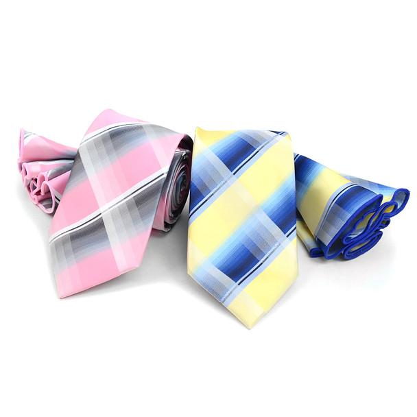 Plaid Tie & Matching Pocket Round Set MPWTH170331