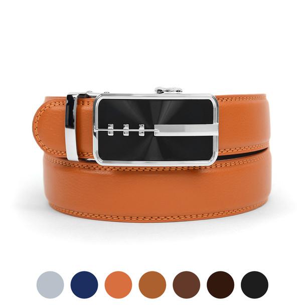 Men's Genuine Leather Sliding Buckle Ratchet Belt MGLBB23