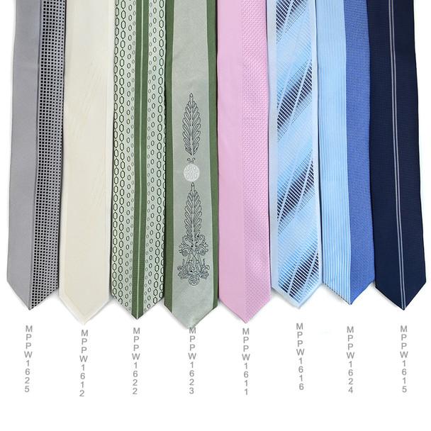 "White Microfiber Poly Woven 2.25"" Slim Panel Tie MPPW1612-WHT"