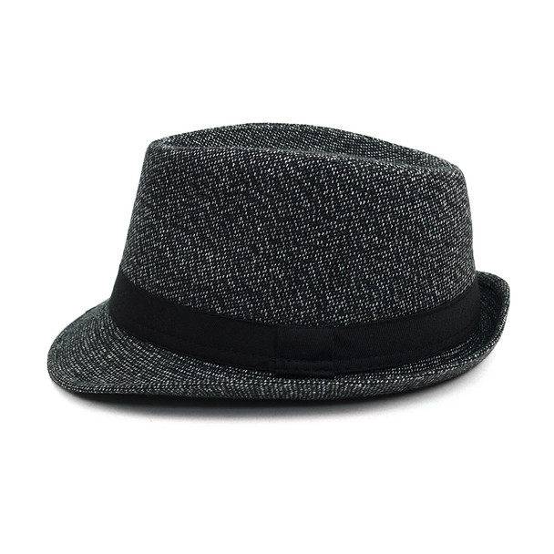 Fall/Winter Trilby Fedora Hat with Band Trim H171390-BLK