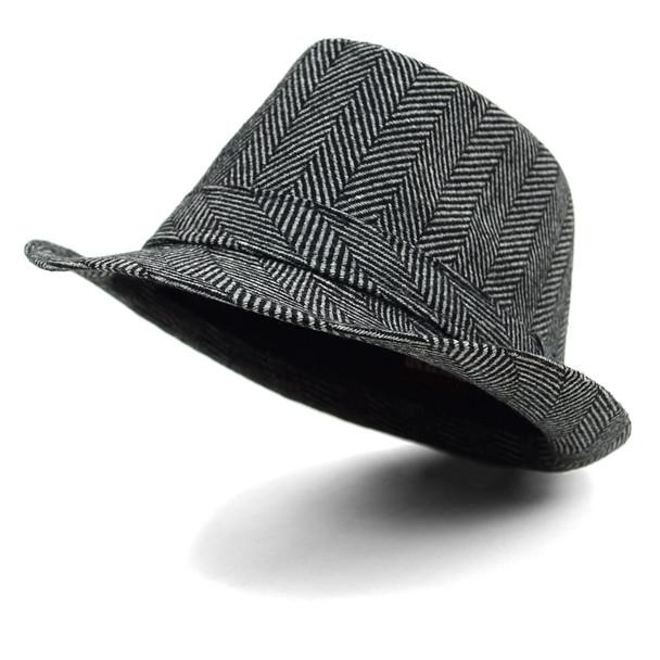 Fall/Winter Herringbone Trilby Fedora Hat with Band Trim H171388