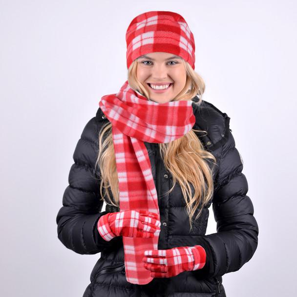 Women's Red Plaid Fleece Winter Set WNTSET1002-RD