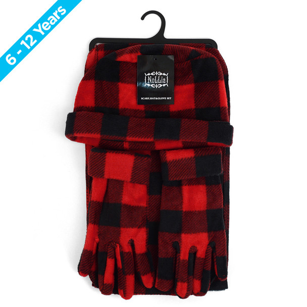 6pc Pack Junior's (6-12 Years Old) Fleece Red Plaid Winter Set WSET8020-RED-JR