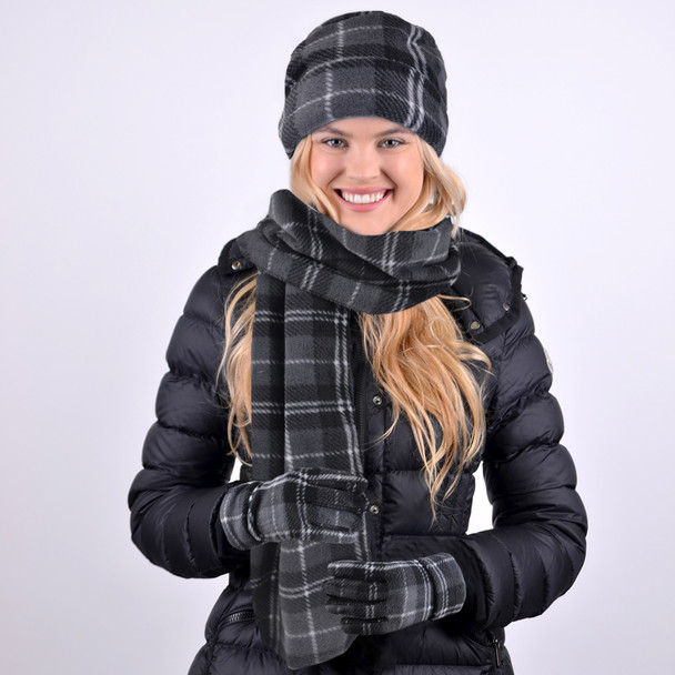 Women's Charcoal Plaid Fleece Winter Set WNSET9013