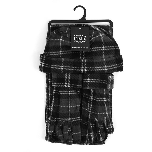 6pc Pack Women's Charcoal Plaid Fleece Winter Set WNSET9013