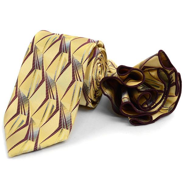 Abstract Pattern Tie & Matching Pocket Round Set MPWTH170635