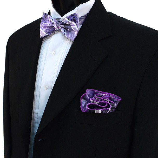 Geometric Paisley Banded Bow Tie & Matching Hanky Pocket Round Set BTH170629