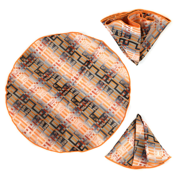 Geometric Paisley Banded Bow Tie & Matching Hanky Pocket Round Set BTH170630