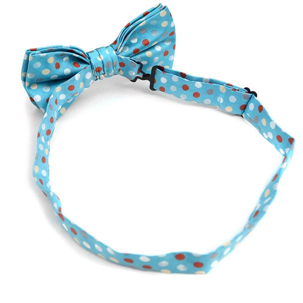 Polka Dot Banded Bow Tie & Matching Hanky Pocket Round Set BTH170632