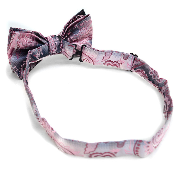 Paisley Banded Bow Tie & Matching Hanky Pocket Round Set BTH170633