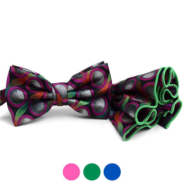 Circle Pattern Banded Bow Tie & Matching Hanky Pocket Round Set BTH170634