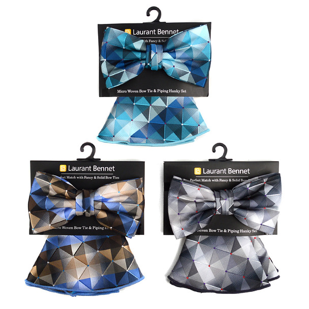 Abstract Pattern Banded Bow Tie & Matching Hanky Pocket Round Set BTH170636