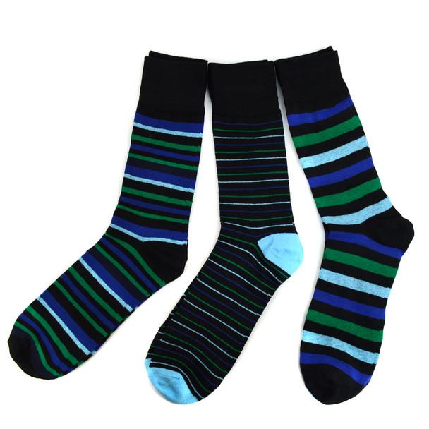 Assorted Pack (3 Pairs) Men's Blue Striped Casual Fancy Socks 3PKS/BL3