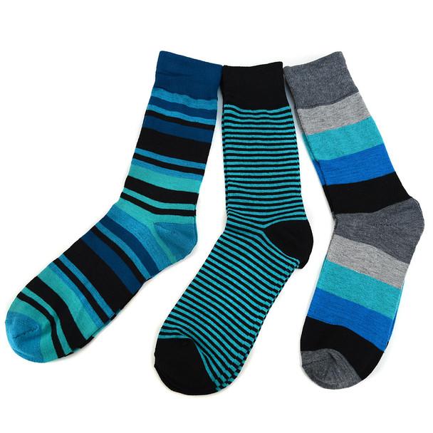 Assorted Pack (3 Pairs) Men's Green Striped Casual Fancy Socks 3PKS/GR2