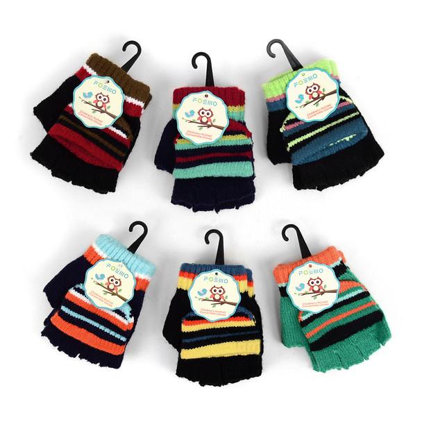 6pc Children's Knit Convertible Winter Mitten Gloves - 580KMG