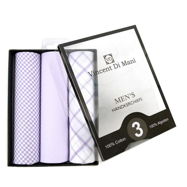 Boxed Men's Cotton Solid & Plaid Lavender Handkerchiefs 3pcs Set - MFVB1713