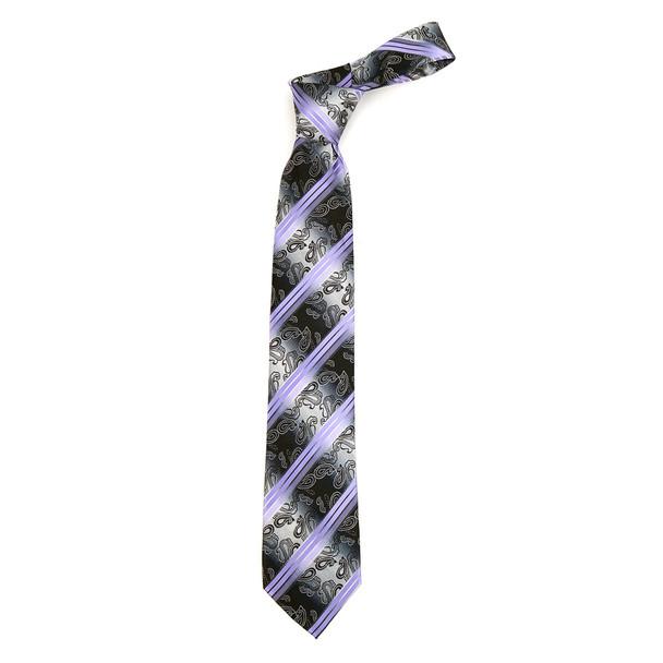 Paisley Stripes Microfiber Poly Woven Tie - MPW5928