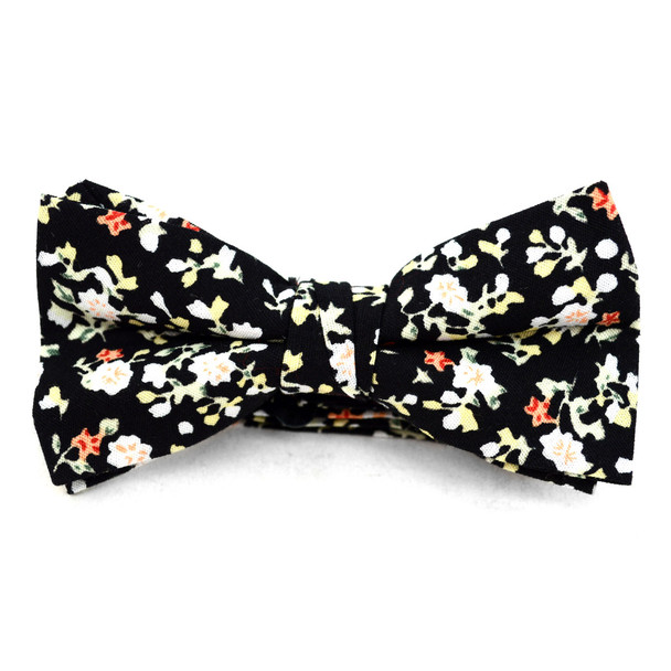 Boy's Black Clip-on Suspender, Floral Pattern Ivy Hat & Matching Bow Tie Set (BSBIV0807H7-2)