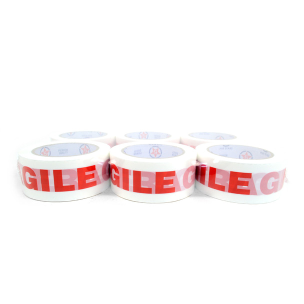 """6pc Fragile Printing Packing Tape Commercial Grade-2"""" Wide -TPFC"""