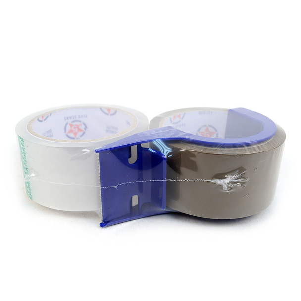 """2-Rolls Clear & Tan Packing Tape Commercial Grade-2"""" Wide with Blue Dispenser -TPTC"""
