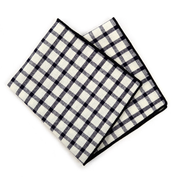 12pc Black & Beige 100% Cotton Checkered Plaid Pocket Square Handkerchiefs - CH1713