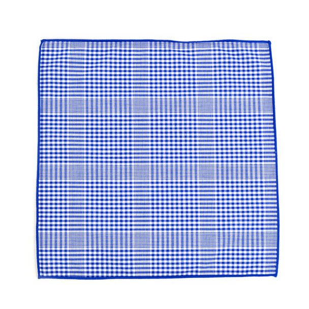 12pc Blue & White 100% Cotton Checkered Plaid Pocket Square Handkerchiefs - CH1716