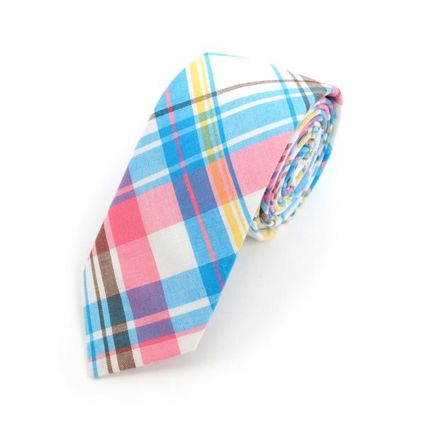 """Men's Pink Blue Plaid 2.25"""" Cotton Slim Tie - MPPW1713"""