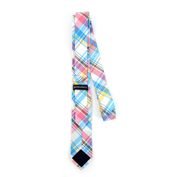 "Men's Pink Blue Plaid 2.25"" Cotton Slim Tie - MPPW1713"