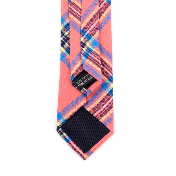 "Men's Hot Pink Plaid 2.25"" Cotton Slim Tie - MPPW1714"