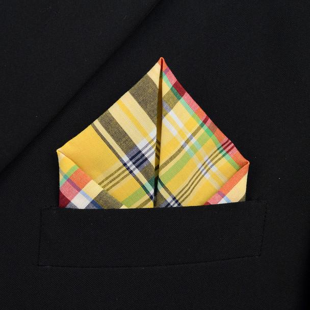 12pc Yellow 100% Cotton Plaid Pocket Square Handkerchiefs - CH1731