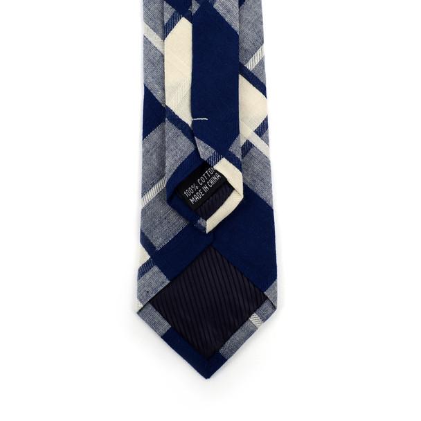 "Men's Navy Plaid 2.25"" Cotton Slim Tie - MPPW1720"