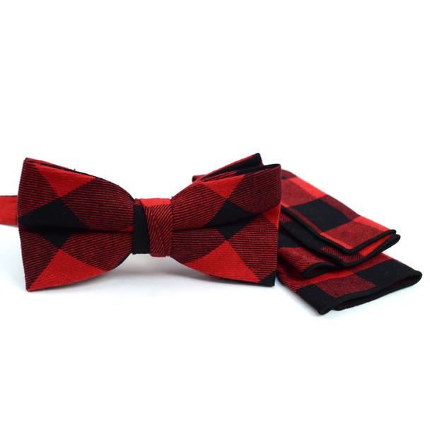 Men's Red and Black Plaid Cotton Bow Tie & Matching Pocket Square - CBTH1718