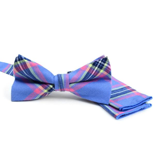 Men's Blue Plaid Cotton Bow Tie & Matching Pocket Square - CBTH1724