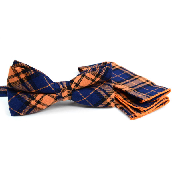 Men's Orange Blue Plaid Cotton Bow Tie & Matching Pocket Square - CBTH1725