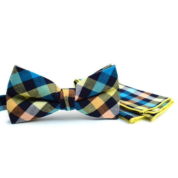 Men's Multi Color Plaid Cotton Bow Tie & Matching Pocket Square - CBTH1726