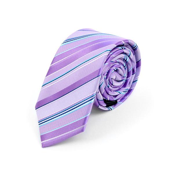 "Striped Microfiber Poly Woven 2.25"" Slim Tie - MPWS5904"