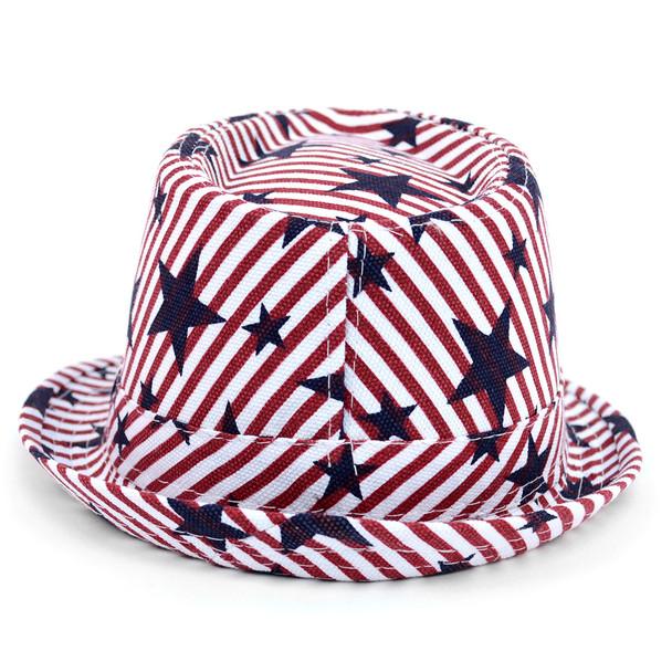 Spring/Summer Stars & Stripes American Flag Fedora Hat - H10401
