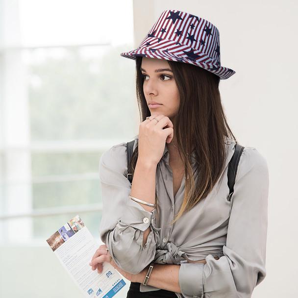 Spring/Summer USA Stars & Stripes American Flag Trilby Fedora Hat - H10401
