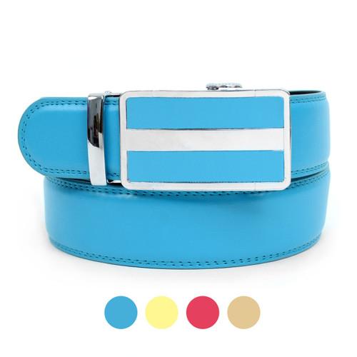 No Holes Mens Genuine Leather Belt with Removable Ratchet Sliding Belt Buckle MGLBB6