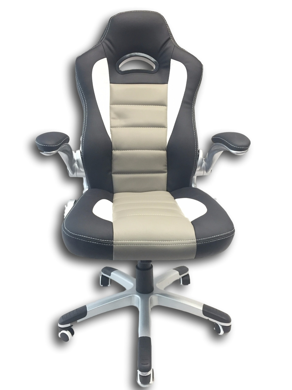 Picture of: Savingbig Racecar Styled Office Chair High Back Leather Computer Home Office Desk Swivel Chair Black Grey White Savingbig Ca