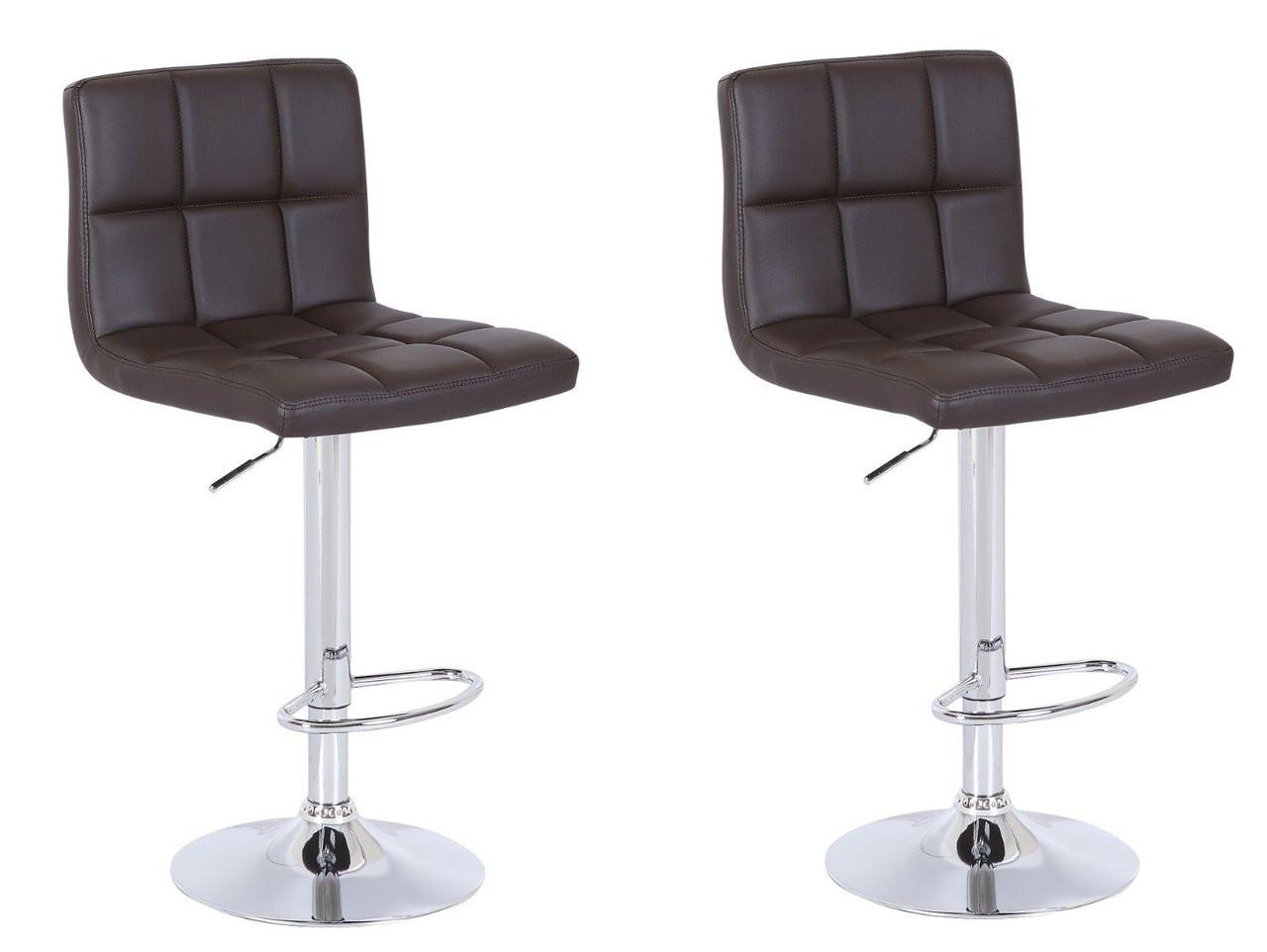 Pleasant Chocolate High Back Leatherette Adjustable Hydraulic Bar Stool Set Of 2 Brown Machost Co Dining Chair Design Ideas Machostcouk